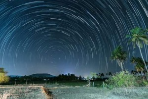 Star Trail at Raia with exposure of  about an hour. - (Photograph by Bhushan Verlekar, Margao)