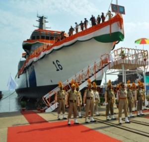 105 meter new generation Offshore Patrol Vessel (OPV) for the Indian Coast Guard built by Goa Shipyard Ltd. at Vasco on May 5, 2016  was launched by H.E.  Hon'ble Governor of Goa
