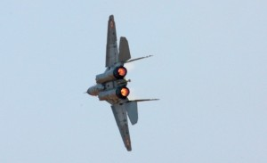 MiG 29Ks undertaking tight turns to showcase its Powers.